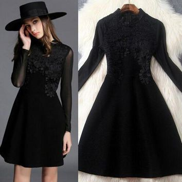 ICIK1W Lace embroidered gauze dress