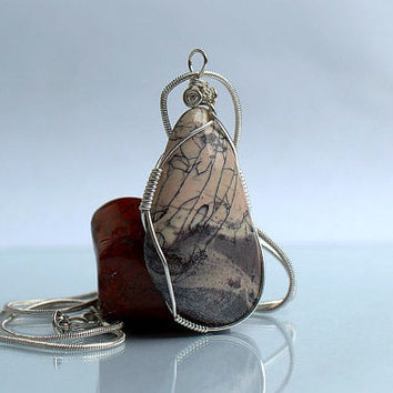 Silver wire wrapped Porcelain Jasper free form pendant handmade jewelry with necklace
