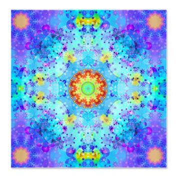 Turquoise Fractal Art Mandala Shower Curtain> Blue / Turquoise Fractal Art Gifts> Hippy Gift Shop Funky Hippie Gifts
