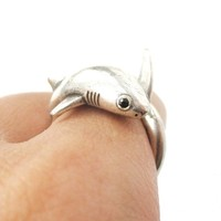 Realistic Great White Shark Shaped Animal Wrap Ring in Silver | US Size 6 to 9
