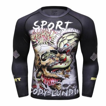 Skull Skulls Halloween Fall Compression Shirt Men's Rashguard Long Sleeve 3D Print  Jiu Jitsu T shirts BJJ MMA Fitness Male Bodybuilding Crossfit Tops Calavera