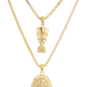 Goldtone Queen Nefertiti and King Tut Pharaoh Micro Pendants Layered Necklace