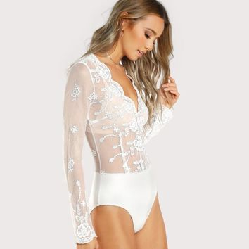 RWL BOUTIQUE Scalloped Plunge Neck Embroidered Mesh Bodysuit White V Neck Long Sleeve Bodysuit Sexy Body Suits for Women