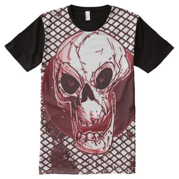 comic style skull wire netting grunge background All-Over print t-shirt