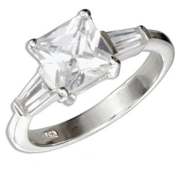 Sterling Silver 2 Carat Princess Cut Cubic Zirconia Engagement Ring with Baguettes