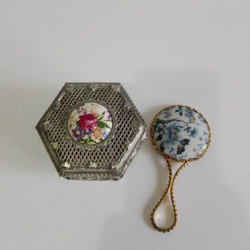 Hexagonal Jewerly box on silver metal and miror, both with porcelain floral decor.