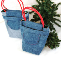 Rocking Horse Gift Bags Christmas Reusable Upcycled Denim Crimson Red White Forest Green Holiday (Set of 2) --US Shipping Included
