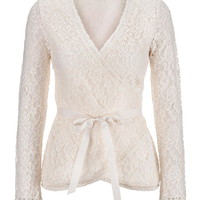 Pristine Floral Lace Wrap Top With Ribbon - Beige