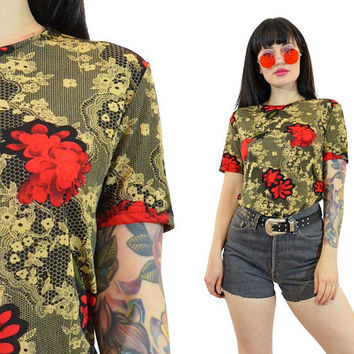 vintage 90s grunge tshirt slinky stretch floral rose print gold filigree ornate novelty top blouse soft grunge goth small