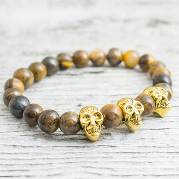 Tiger eye beaded with gold skulls stretchy bracelet made to order yoga bracelet, wrap bracelet, mens bracelet, womens bracelet