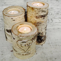 Set of 3 Natural Birch Wood Tealight Candle Holders, Rustic Wedding Tealight Candle Holders, Rustic Wedding Decor, Rustic Natural Wood Decor