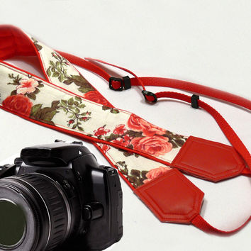 Roses Camera Strap. DSLR / SLR Camera Strap. Photo Camera accessories. For Sony, canon, nikon, panasonic, fuji and other cameras.