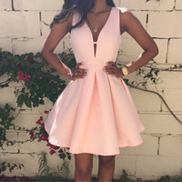 2016 Summer Ladies Pink Fashion Sexy Deep V-neck Backless Sleeveless A-line Women Dress Club Evening Party Mini Dresses