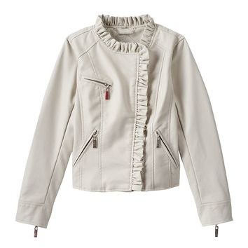 J2 by Jou Jou Faux-Leather Ruffle Jacket - Girls 8-16, Size: