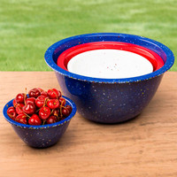 Confetti Nested Mixing Bowls (4-piece Set) - Marine Blue. Environmentally Friendly. Use for Mixing or Serving.