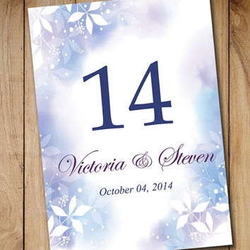 "Printable Wedding Table Number Template - Winter Wonderland ""Watercolor Winter"" Blue Purple - Flat Table Card Download 5 x 7 Wedding Seating"
