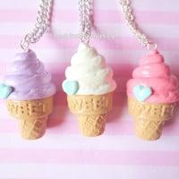 Pastel Fairy Kei Ice Cream Cone Necklace (Choose One)