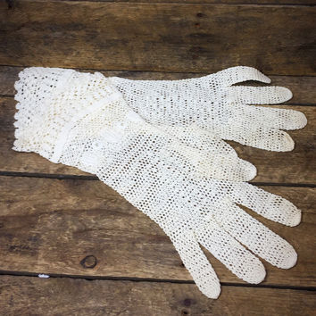 Vintage Womens Small Lace Crochet Gloves - Off White
