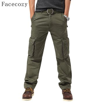 Facecozy 2018 Men Autumn Winter Outdoor Sports Hiking Pant Male Windproof Multi-pockets Camping Wear Resistant Cargo Trousers