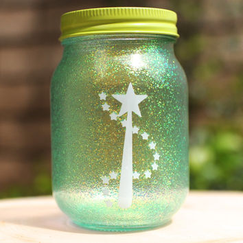 Tinted Glitter Mason Jar - Disney Tinkerbell from Peter Pan Inspired