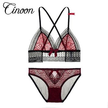 Lace Bralette Briefs Soft Triangle Bra Panty Sets Sexy Intimates Crop Top Very Sexy Underwear Free shipping