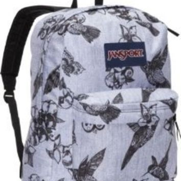 JANSPORT SUPERBREAK BACKPACK SCHOOL BAG - Grey/ Black Botanical - 9UW