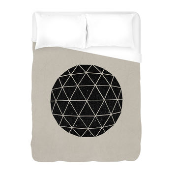 Geodesic Black Duvet Cover