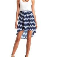Crochet & Chevron Print High-Low Dress - Navy Combo