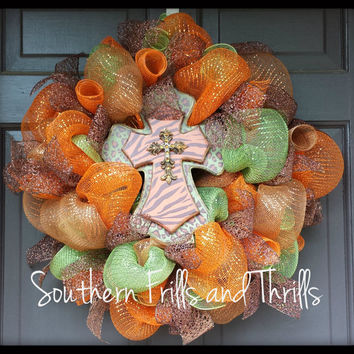 Animal Print Fall Cross Deco Mesh Wreath