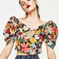 PRINTED TOP WITH FULL SLEEVES DETAILS