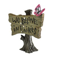 "Georgetown Home & Garden Miniature Butterfly Sign ""We Believe in Fairies"" Garden Decor"