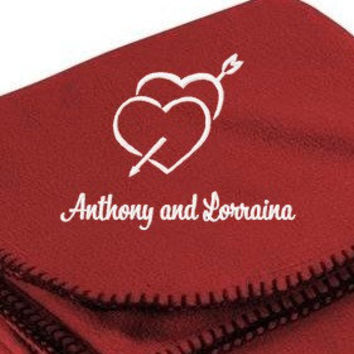 Personalized Bride Groom Embroidered Hearts Love  Fleece Blanket Wedding Anniversary Valentines DayGift Bridal