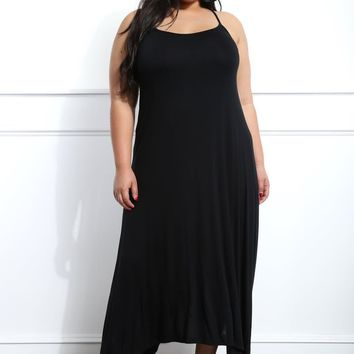 Black Handkerchief Plus Size Midi Dress
