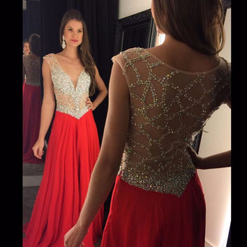 Robe De Soiree2017 Custom Made Red Sexy Chiffon V-neck Illusion Back Long Formal Evening Dress Luxury Crystal Beading Party Gown