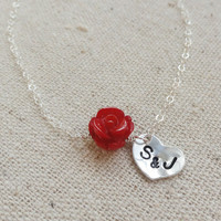 Personalized Heart Charm necklace TWO initials by BriguysGirls