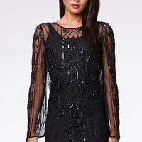 Kendall & Kylie Beaded Low Back Dress - Womens Dress - Black