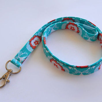 Floral Teal Lanyard / Turquoise Lanyard / Floral Keychain / Teal and Coral / Key Lanyard / ID Badge Holder / Back to School / Flowers