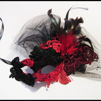 "Beautiful Masquerade Lace Mask : ""Red Rose Lady"""