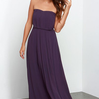 Empress Me Much Purple Strapless Maxi Dress