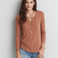 AEO Henley Long Sleeve T-Shirt, Burnished Brown
