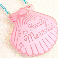 Mermaid Jewelry // A Mermaid gave me this Pink Shell Necklace (Blue chain) // mermaid necklace