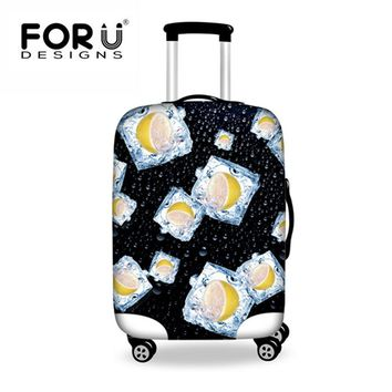 FORUDESIGNS Black Lemon Spandex Luggage Cover Travel Fruit Print Suitcase Jacket Protect Travel Accessory Supplies With Zipper