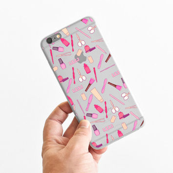 Girl Make-Up Things - Pinky - Lipstick - Nail Polish - Super Slim - Printed Case for iPhone - S017
