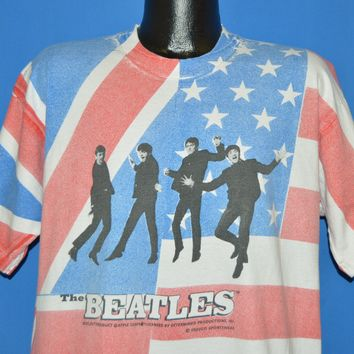 90s The Beatles All Over Flag Print t-shirt Extra Large