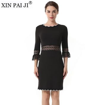 Summer Dress Black Women Three Quarter Sleeved O-neck Hollow out Lace Stitching Slim Casual Dress Vestidos
