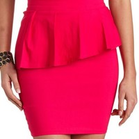 High-Waisted Pleated Peplum Skirt