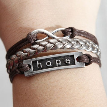 Karma- antique silver infinity bracelet letter hope bracelet,coffee wax cord silver braid leather bracelet