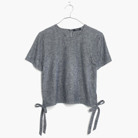 Chambray Side-Tie Crop Tee