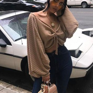 ONETOW Khaki Ruffle Open Back Lantern Sleeve Off Shoulder Oversized Pullover Sweater Day-First?