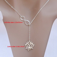 2016 Fashion Infinity Lariat Necklace Lotus Pendant for Women